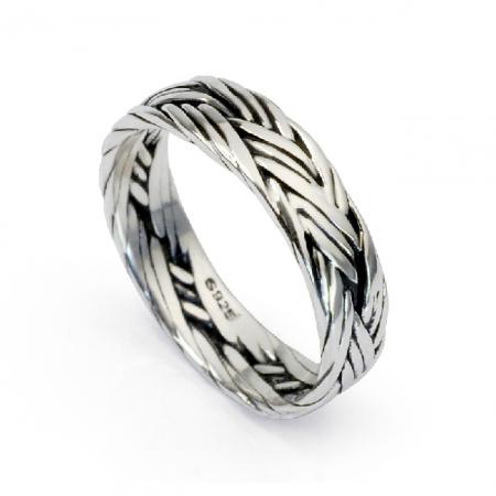 Men's Nightclub Knit Ring 925 Sterling Silver Ring