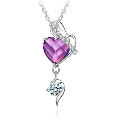 Romantic heart-shaped crystal pendant 925 silver necklace
