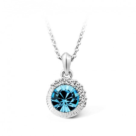 Stunning Sea Blue Crystal Necklace For Women