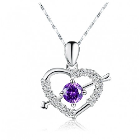 Romantic stone mandrel crystal silver necklace