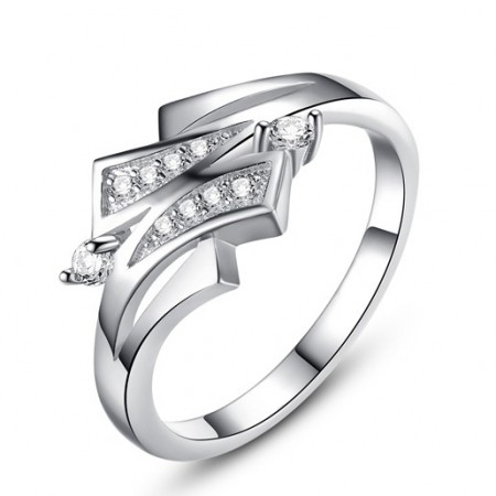 Women's Platinum Plated Ring With Top Cubic Zirconia Inlaid