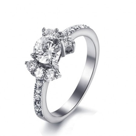 Lady's Stunning 316L Stainless Steel Ring With Cubic Zirconia