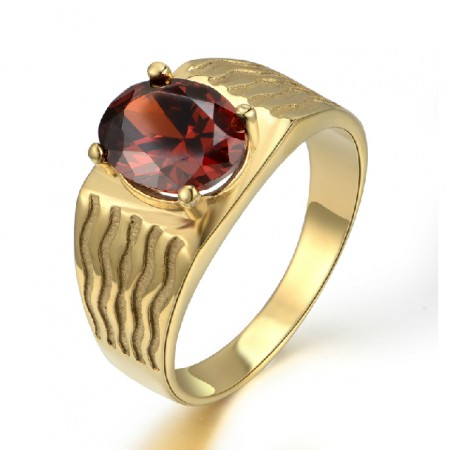 Red Gemstone Ring Made Of Titanium Steel With Gold Filled