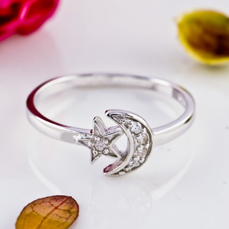 Cute Star And Moon 925 Sterling Silver Ring For Women