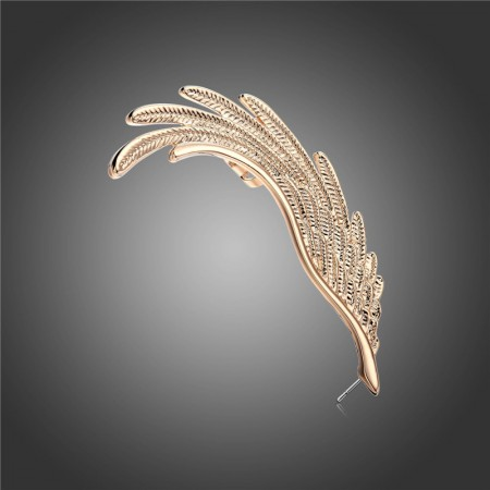 Fashionable Angel's Wing Design Alloy Gold Plated Allergic Free Single Women's Left Ear Cuff