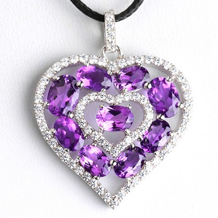 Heart Shaped Natural Purple Crystal Pendant Platinum Plated 925 Sterling Silver Necklace