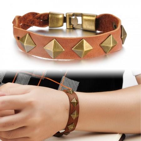 Vintage Men's Leather Bracelet With Rivet