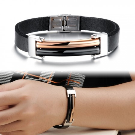 Men's Geniune Leather Bracelet With Stainless Steel