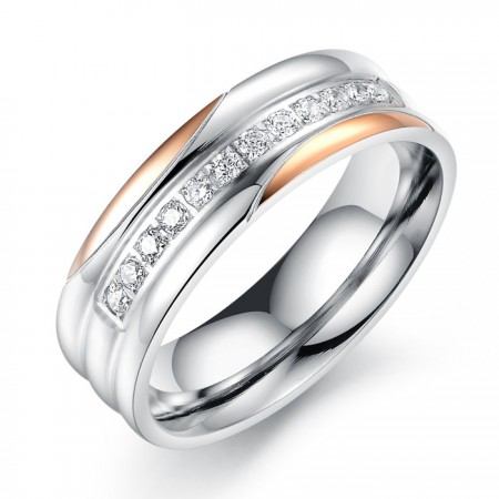 Top Stainless Steel Ring With Twelve 3A Cubic Zirconia Inlaid