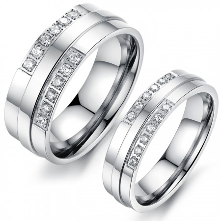 Simple Style Titanium Steel Lover Rings For Couples