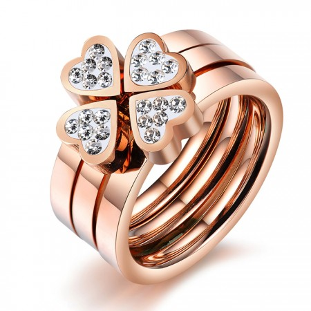 Heart Four Leaf Clover Rose Gold Plated Titanium Steel Three-in-one Ring Set