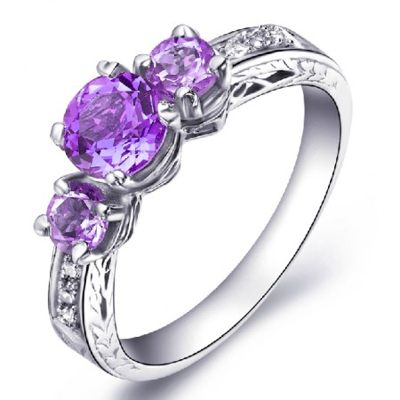 Three Natural Amethyst 925 Sterling Silver Ring For Women