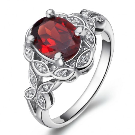 Leaves Surrounded Natural Garnet 925 Sterling Silver Ring For Women