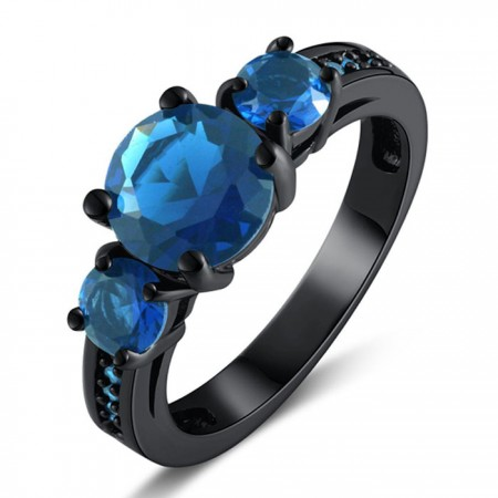 Women's Round Cut Blue Sapphire Black Gold Plated Engagement / Wedding Ring