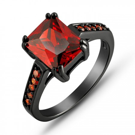 Shining Ruby Women's Engagement / Wedding Ring Black Gold Plated