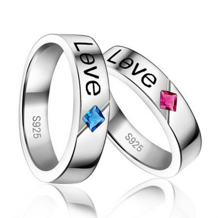 Nature Cubic Ruby/Sapphire Lover's Sterling Silver Band Rings(Price For A Pair)