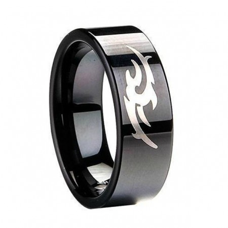 ' Ring Of Courage ' Black Tungsten Ring For Men And Women