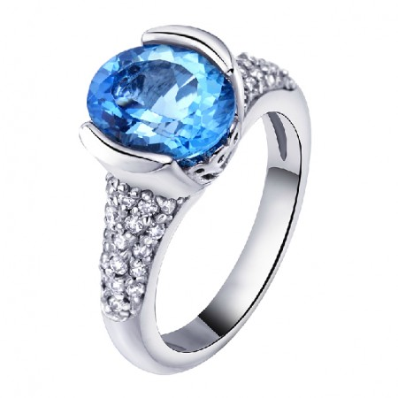 Noble Natural Topaz 925 Sterling Silver Ring