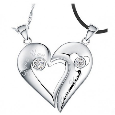 "Creative ""Love You"" Heart's Kiss With Crystal 925 Sterling Silver Lovers Necklaces (Price For a Pair)"