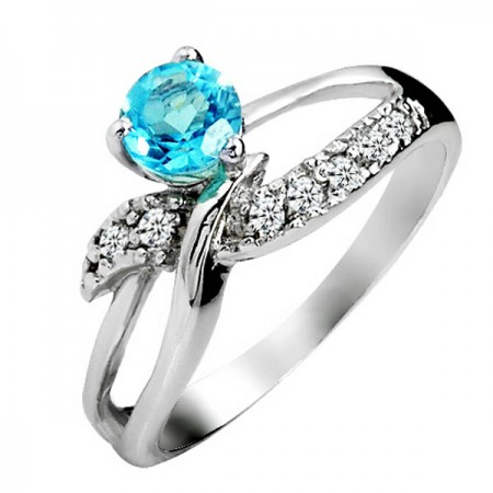Pretty Natural Blue Topaz 925 Sterling Silver Ring