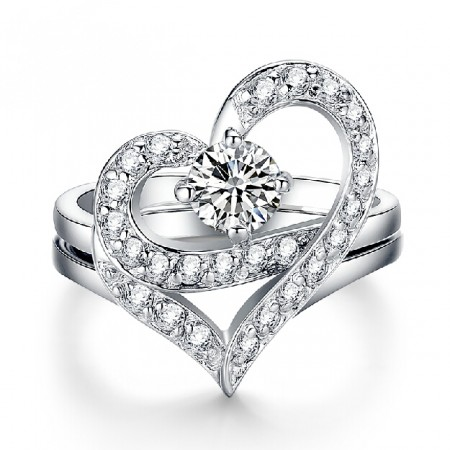 New Sweet Heart With Crystal Women's Ring
