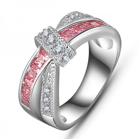 Amazing Lady's Platinum Plated Engagement / Wedding Band Promise Ring With Pink Sapphire