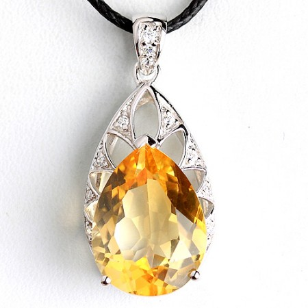 Vintage Water Drop Citrine Pendant 925 Sterling Silver Necklace