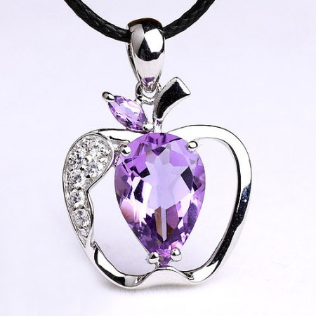 925 Sterling Silve Apple Pendant With Natural Amethyst