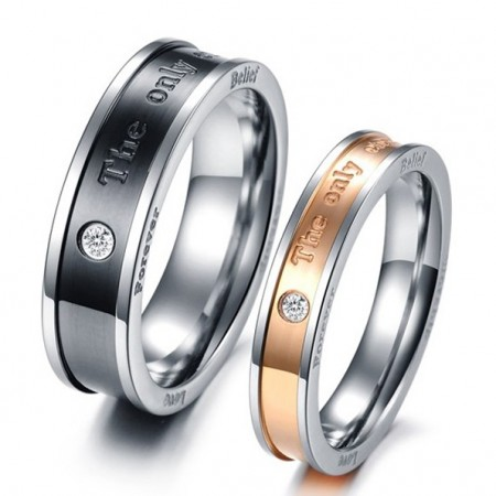 """Stunning """"The Only Enternal Love"""" Lover's Titanium Ring(Price For A Pair)"""