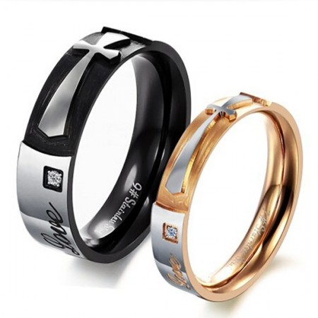Cross Love Titanium Steel Lover Rings Affordable Rings For Couples(Price For a Pair)