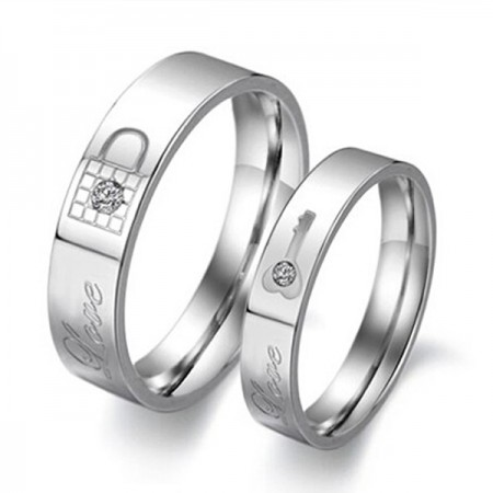 Key And Lock Titanium Steel Lover Rings(Price For a Pair)