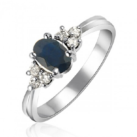 Noble Natural Blue Sapphire 925 Sterling Silver Ring