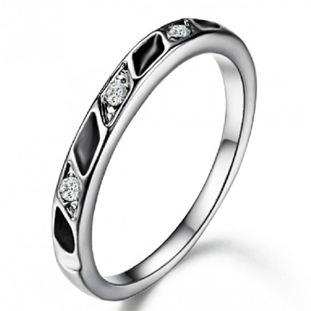Platinum Plated Ring Band With Cubic Zirconia