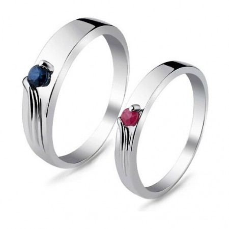 925 Sterling Silver Lover Ring With Natural Blue Sapphire / Ruby Inlaid(Price For a Pair)