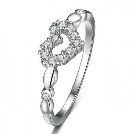 925 Sterling Silver Heart Ring With CZ Inlaid