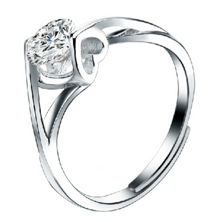 Adjustable CZ Inlaid 925 Sterling Silver Ring With Heart Element