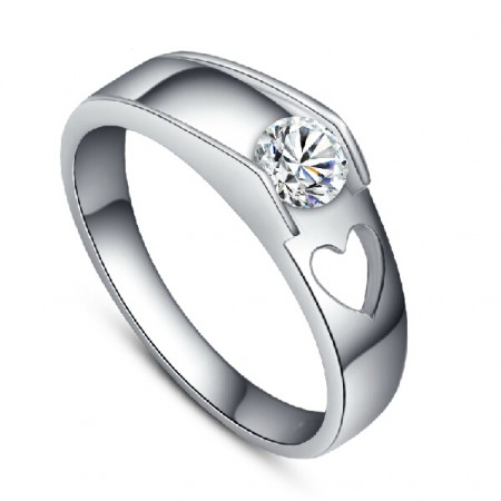 Men's Platinum Plated 925 Sterling Silver Engagement Ring