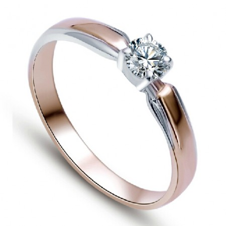 Rose Gold Plated 925 Sterling Silver Ring With Synthetic Diamond