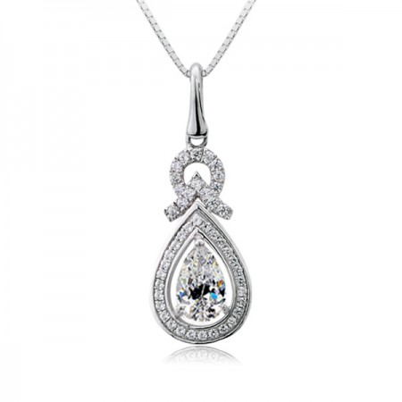 Water Drop Pendant SONA Diamond 925 Sterling Silver Necklace