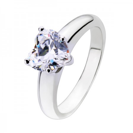 Heart SONA Diamond 925 Sterling Silver Engagement / Wedding Ring