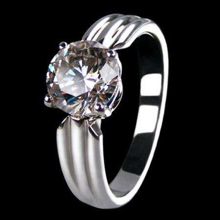 Platinum Plated 925 Sterling Silver Round Artificial Diamond Engagement / Wedding Ring
