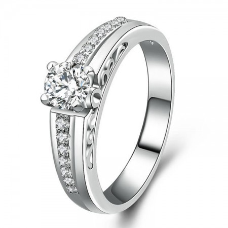CZ Inlaid 925 Sterling Silver Engagement / Wedding Ring