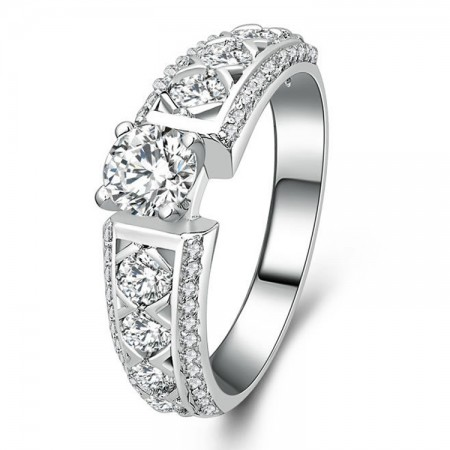 Shiny Cubic Zirconia 925 Sterling Silver Engagement / Wedding Ring
