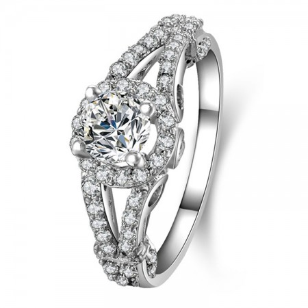 Stunning CZ Inlaid 925 Sterling Silver Engagement / Wedding Ring