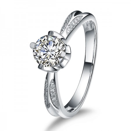 Platinum Plated 925 Sterling Silver Ring With 1CT SONA Diamond