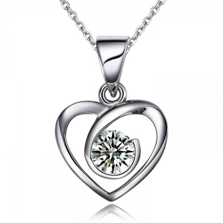 Love In Heart 925 Sterling Silver Pendant With CZ Inlaid