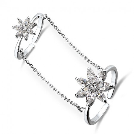 Adjustable Platinum Plated 925 Sterling Silver Double Rings