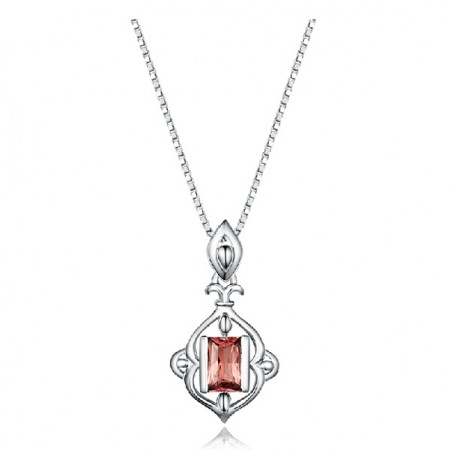 925 Sterling Silver Necklace With Garnet Pendant