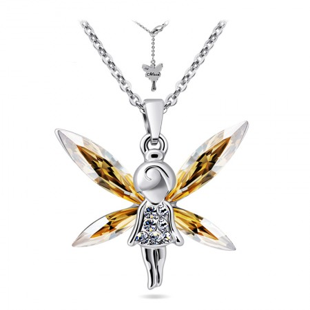 Angel Of Guard Pendant With Champagne Crystal Necklace