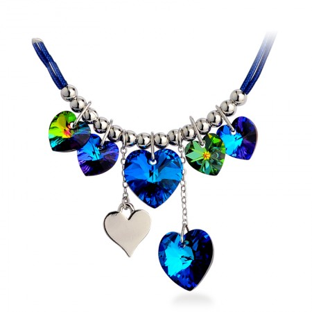 Beautiful Blue Heart Crystal Necklace